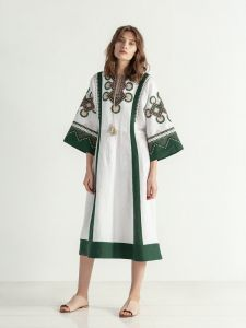 ЕтноДім Біло-зелена сукня вільного крою з вишивкою Temple