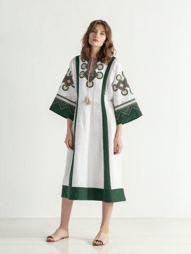 Бело-зеленое платье свободного кроя с вышивкой Temple