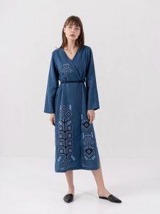 Платье вышиванка ручной работы Льняное вышитое платье на запах Karpaty