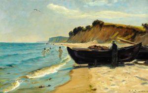 Брендекильде Ганс Андерсен Летний день на берегу с купанием мальчиков и рыбаком у своей лодки