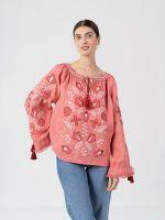 Льняная вышиванка с растительным орнаментом Pink Harmony