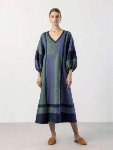 Вишиті сукні Триколірна лляна сукня Macaroon