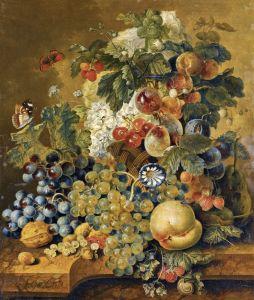 Линдхорст Якобус Натюрморт с фруктами, бабочками, мухой и улиткой на каменном выступе