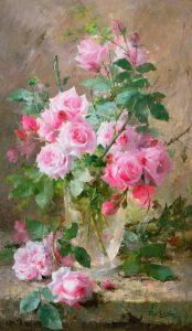 Мортельманс Франс Натюрморт с розами в стеклянной вазе