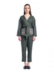 Акции Базовый брючный костюм из темно-зеленого льна BS2