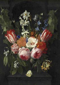 Верендаль Николас ван Букет цветов с бабочкой в каменной нише