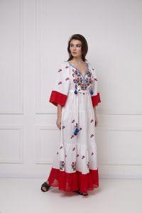 Одежда из льна «Омелия Шик» белое платье-макси