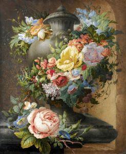 Хенстенбург Герман Урна, увитая цветами с различными насекомыми и улитками в каменной нише