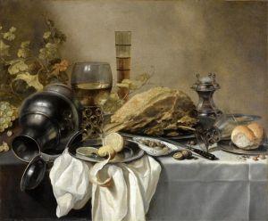 Клас Питер Натюрморт с ветчиной, солонкой, рёмером, кувшином, виноградом и др объектами
