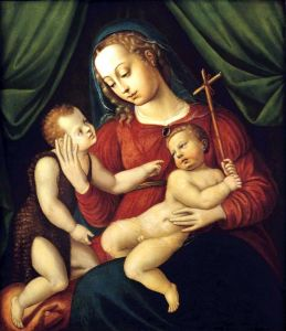Печатные картины на холсте Круг. Мадонна с Мадонной и юным Иоанном Крестителем