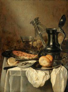 Барокко Натюрморт с оловянным кувшином, ломтиком лосося, хлебом, оливками в фарфоровой миске и др объектами