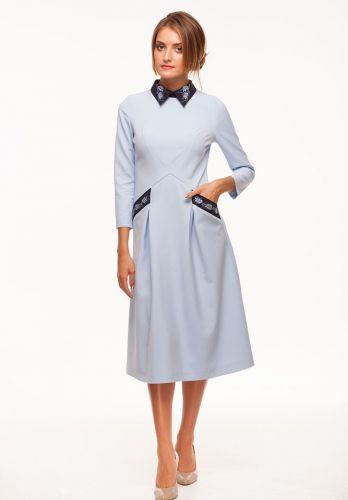 """Платье с вышивкой """"Колоски"""" голубая"""