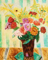 Натюрморт с цветами и полосатыми обоями