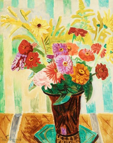 Натюрморт з квітами і смугастими шпалерами