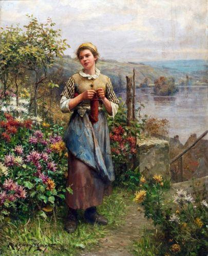 Молодая женщина вяжет