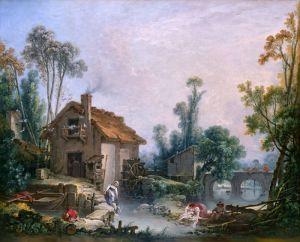 Буше Франсуа Пейзаж с водяной мельницей