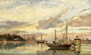 Кук Эдвард Уильям Венецианская лагуна на закате