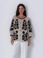 Льняная блуза с аппликацией Zagadka Black