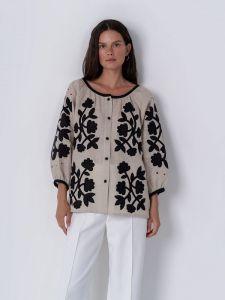 Вышиванки ручной работы Льняная блуза с аппликацией Zagadka Black