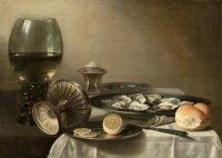 Натюрморт с бокалом вина и устрицами
