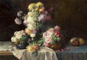 Мортельманс Франс Три вазы с хризантемами и розами