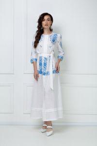 Вышитые платья Платье-макси «Эмма» белого цвета