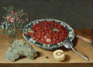 Соро Исаак Натюрморт с земляникой в китайской миске, цветами в стеклянной вазе, гроздью винограда и др. объектами
