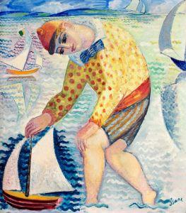 Хлопчик з вітрильним човном