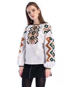 Вышитая рубашка с геометрическим орнаментом Line White