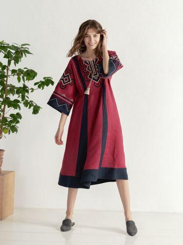 Бохо платье свободного кроя с вышивкой Temple2
