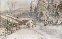 Зимний пейзаж с двором - Филипстадс Бергслаг