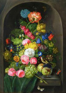Барокко Цветочный натюрморт в нише с фруктами и щеглом