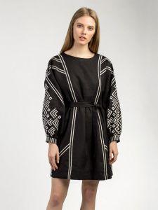 ЕтноДім Черное льняное платье Kuro