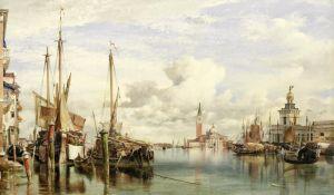 Романтизм Трабакколо (двухмачтовое грузовое судно) с лесом, Сан-Джорджо Маджоре и таможня вдали