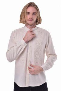 Embroidered apparel - Men Чоловіча вишита сорочка «Сила» молочна