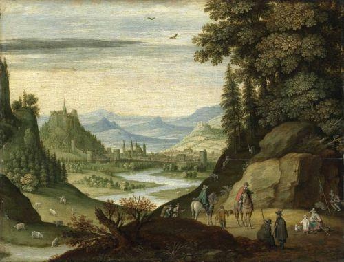 Горный пейзаж с фигурами на лошадях, извилистой рекой и городом вдали