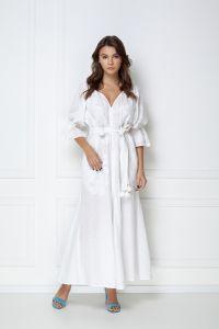 Одежда из льна «Виктори» белое платье-макси