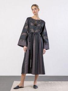 ЕтноДім Лляна міді сукня вільного крою з аплікацією і вишивкою Iris Black
