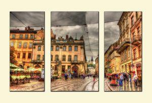 Модульные картины Площадь Рынок во Львове №1