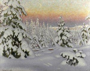 Фьюэстад Гюстав Зимний пейзаж в сумерках