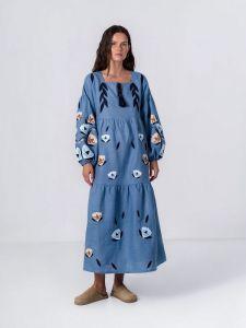 Платье вышиванка ручной работы Льняное меди платье свободного кроя Kazka Blue