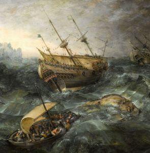Корабельна аварія біля скелястого берега