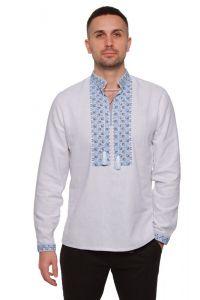 """Embroidered apparel - Men Вишиванка чоловіча """"Дві стихії"""" блакитно-сіра"""