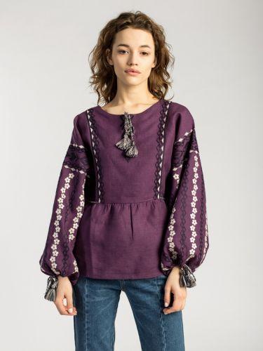 Фиолетовая вышиванка со льна BAT