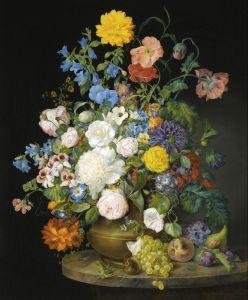 Барокко Натюрморт с букетом цветов в вазе и фруктами на каменном выступе