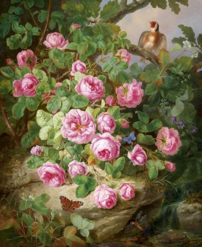 Декоративный натюрморт с розами, бабочками и птичкой