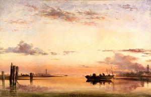Романтизм Захід сонця в венеціанській лагуні з церквою острова Сан-Джорджо в Алга вдалині