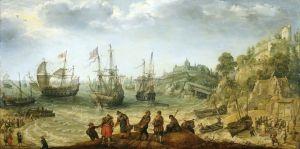 Кораблі біля скелястого берега