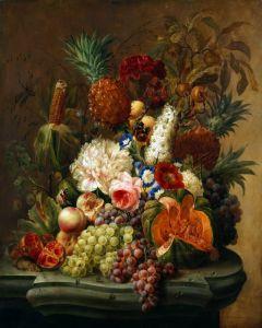 Барокко Натюрморт с цветами и фруктами