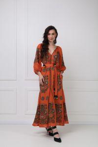 FOBERINI «Виктори Шик» терракотовое платье-макси